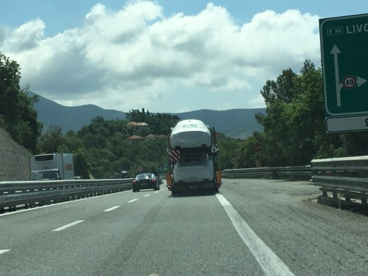 Maseratis on a transporter
