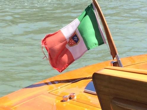 The Italian flag on the Grand Canal