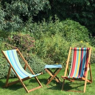 Deck chairs in the garden
