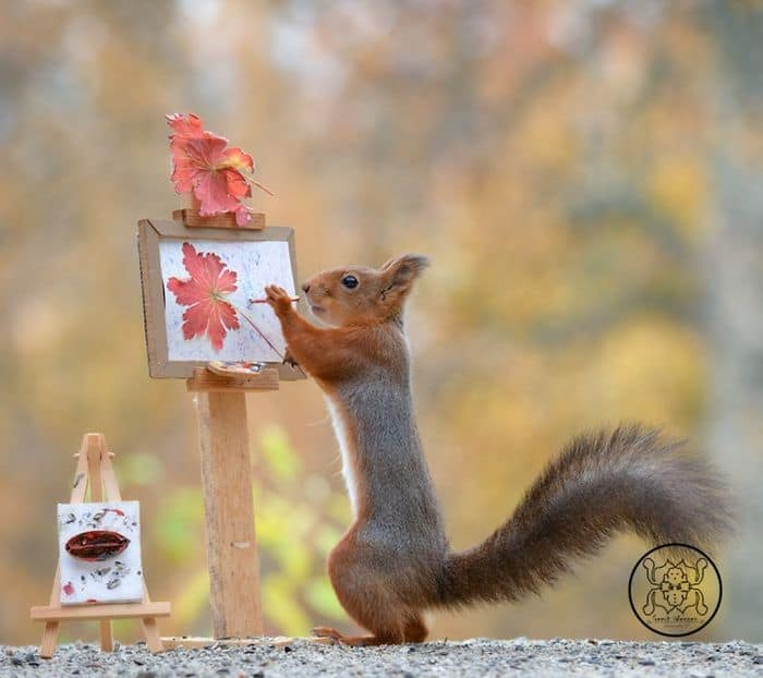A squirrel painting a flower