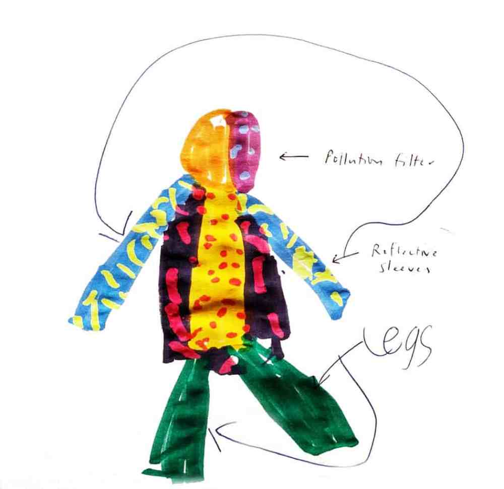 """No Plooshon (Pollution) Jacket """"This is a No Plooshon Jacket and it keeps car fumes away from the person wearing it. It is made of waterproof fabric (polyester) and has a filter over the face that you can see through. This is for people who want to keep away from the car fumes and people with asthma like me. The jacket sleeves are reflective so people can see you."""" – Gruff, age 6, London, UK"""