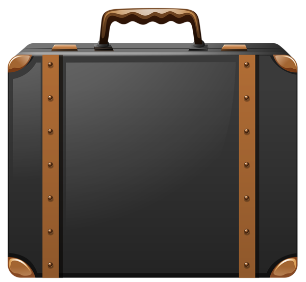 black_and_brown_suitcase_png_clipart_image