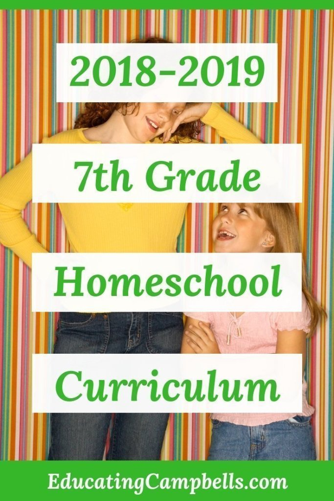 Pinterest Image for 2018-2019 7th grade homeschool curriculum, 2 sisters looking at each other