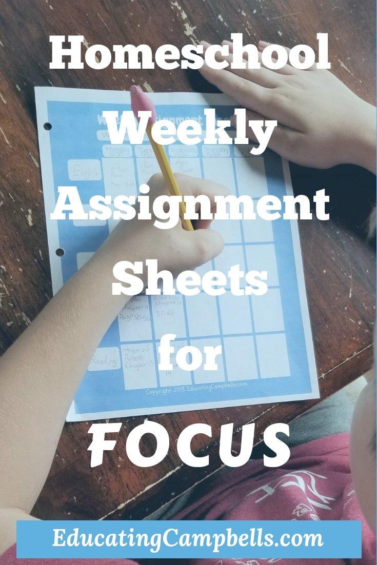 Pinterest Image -- Homeschool Weekly Assignment Sheets for Focus, child using homeschool assignment sheet