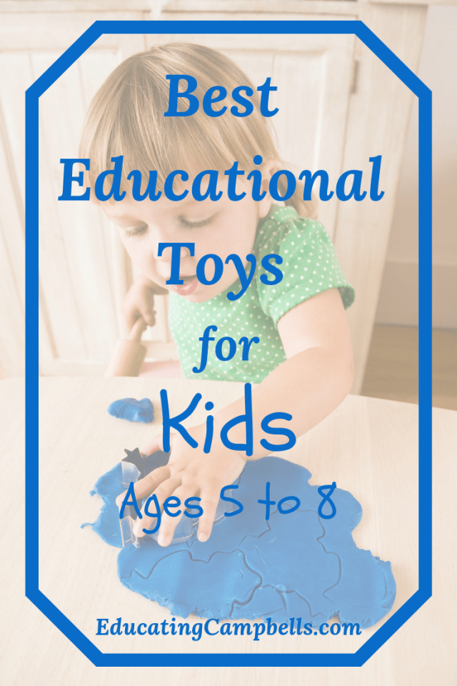 Pinterest Image, little girl playing with clay as educational toys for kids