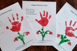 Valentine's Day handprint flower craft keepsake