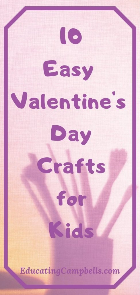 Pinterest Image -- 10 easy Valentine's day crafts for kids, paint brush cup shadow
