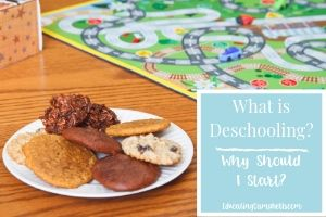 Deschooling Featured Image -- plate of cookies with child's playrug, text overlay