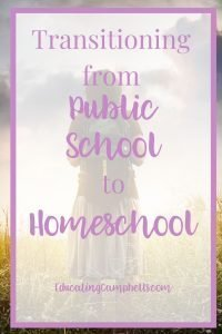 Transitioning from Public School to Homeschool, girl with back pack in field with text overlay