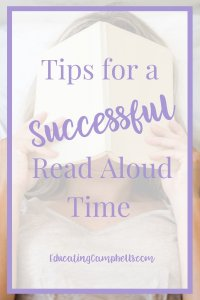 Pinterest Image for Tips for a Successful Read Aloud Time, Woman with book over her face, text overlay