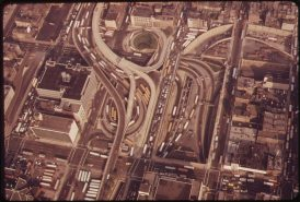 MIDTOWN MANHATTAN, SHOWING ENTRANCE TO THE LINCOLN TUNNEL UNDER THE HUDSON RIVER, 05/1973