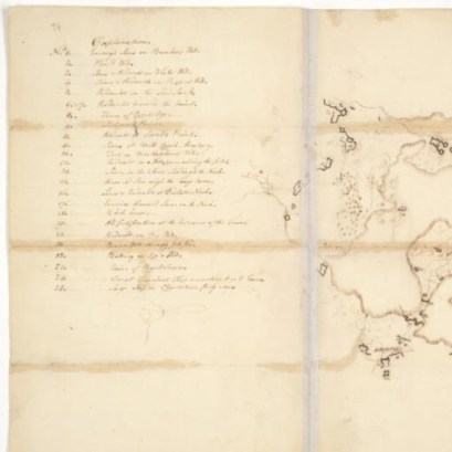 Sketch of British and American Lines and Fortifications in Boston Area by John Trumbull