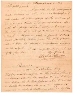 Letter from Elisha Tyson regarding kidnapped free blacks, December 5, 1811, page 1.