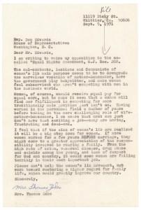 Letter from Mrs. Thomas Zeko against ERA, September 9, 1971.  Records of the U.S. House of Representatives.