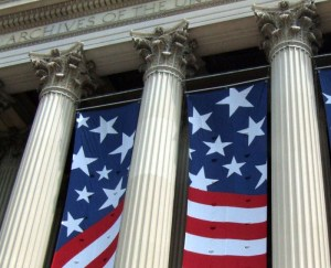 Flags on National Archives Building
