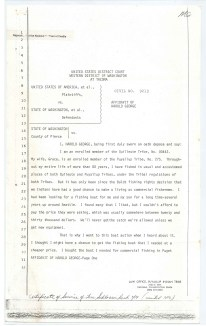 In this testimony, Harold George describes how Boldt's fishing rights affect his livelihood.  Affidavit of Harold George, 7/14/1976. From the Records of the U.S. Fish and Wildlife Service.