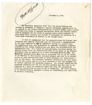 White House Statement on Emergency Appropriations for Public Works, 11/8/1930. From the Collection HH-HOOVH: Herbert Hoover Papers.