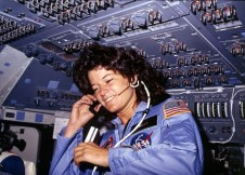 [Sally Ride] America's first woman astronaut communicates with ground controllers from the flight deck during the six day mission of the Challenger