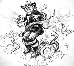 """A man representing Congress being squeezed by """"investigation"""" serpents"""