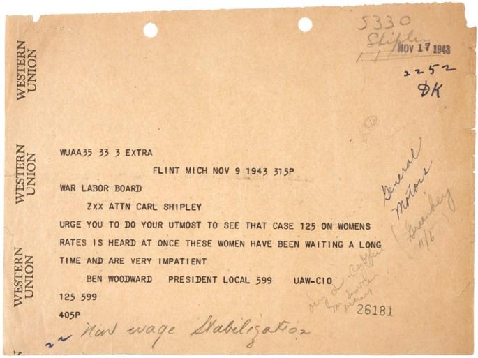 Telegram from Ben Woodward to Carl ShipleyNovember 9, 1943 07646_2007_001