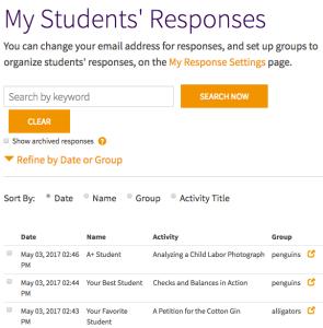 My Students' Responses