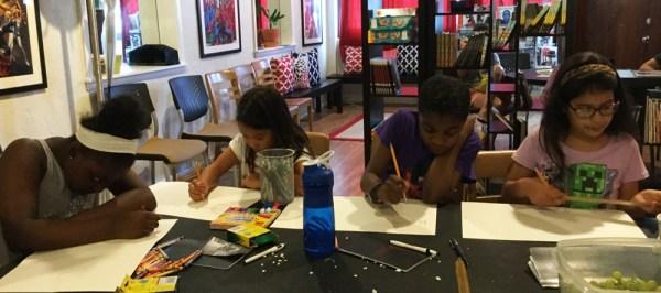 Girls working on activities