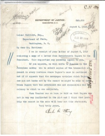 Cablegram from Tagore to President Wilson, and the Department of Justice's letter to the State Department about the situation