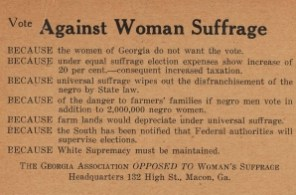 Opposed to Woman Suffrage Card