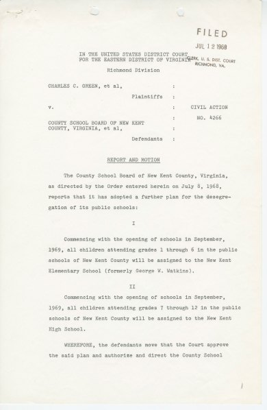 Report and Motion of July 1968