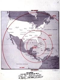 Map showing missile range