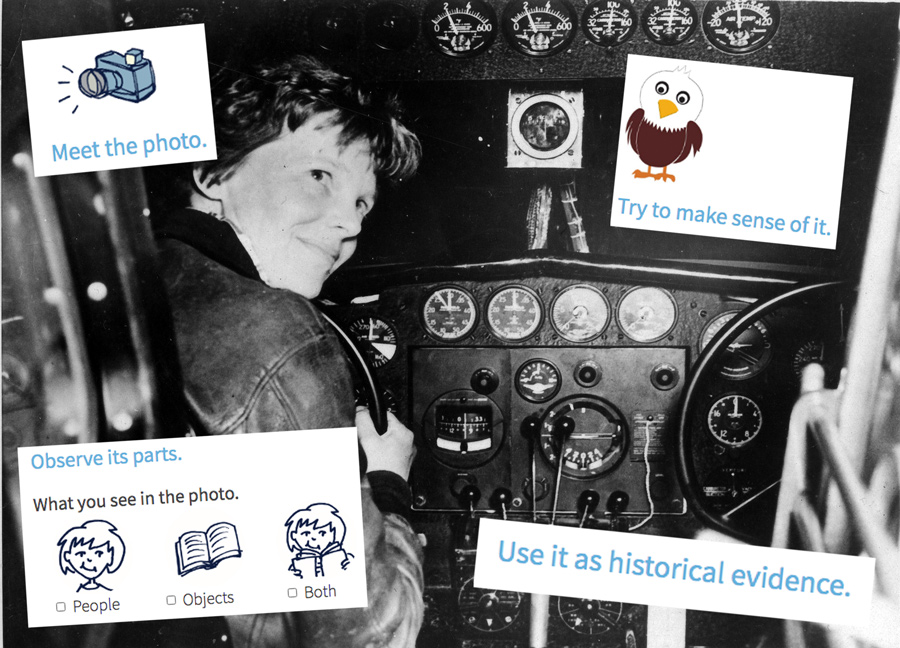 Amelia Earhart in cockpit with analysis questions surrounding her