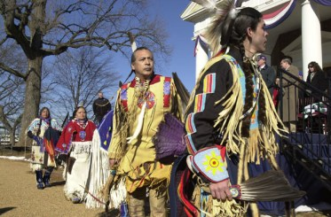 Ceremony participants in line