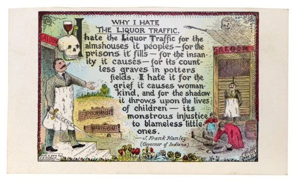 Why I Hate the Liquor Traffic postcard with images of a saloon owner, grim reaper, prison, poorhouse, and distressed family