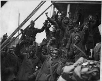 Group of servicemen returning home from war