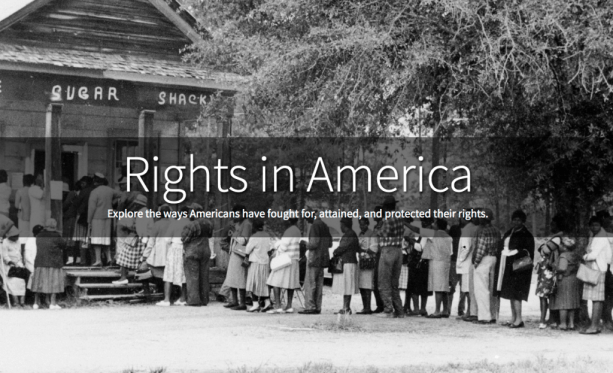 Rights in America. Explore the ways Americans have fought for, attained, and protected their rights. Text overlaid on image of people lined up to vote.
