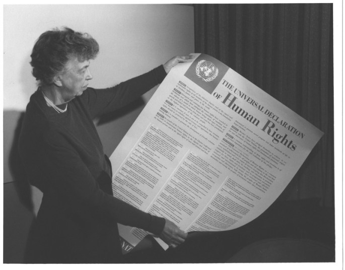 Eleanor Roosevelt holding the Universal Declaration of Human Rights