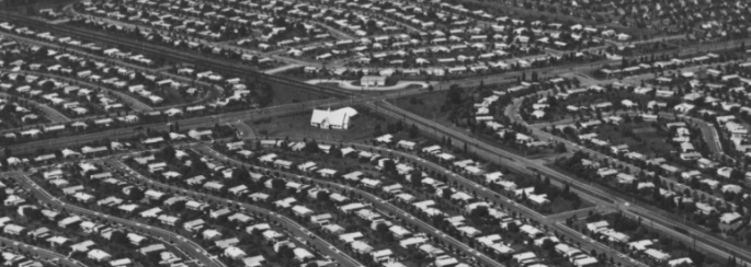 Aerial view of rows of houses in the suburbs
