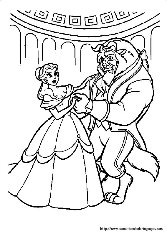 Beauty And Beast Coloring Pages Free For Kids