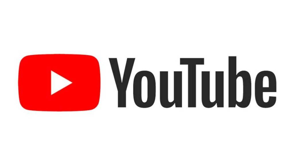 "red rectangle with white triangle in the middle. Black text ""YouTube"" on the right of the rectangle"