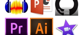 Icons for Audacity, PowerPoint, Illustrator, Premiere, and iMovie