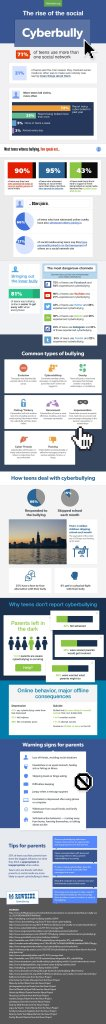The Rise of Social Media Cyberbullying Infographic