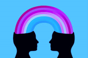Thoughts in the form of a rainbow being shared between two people's minds