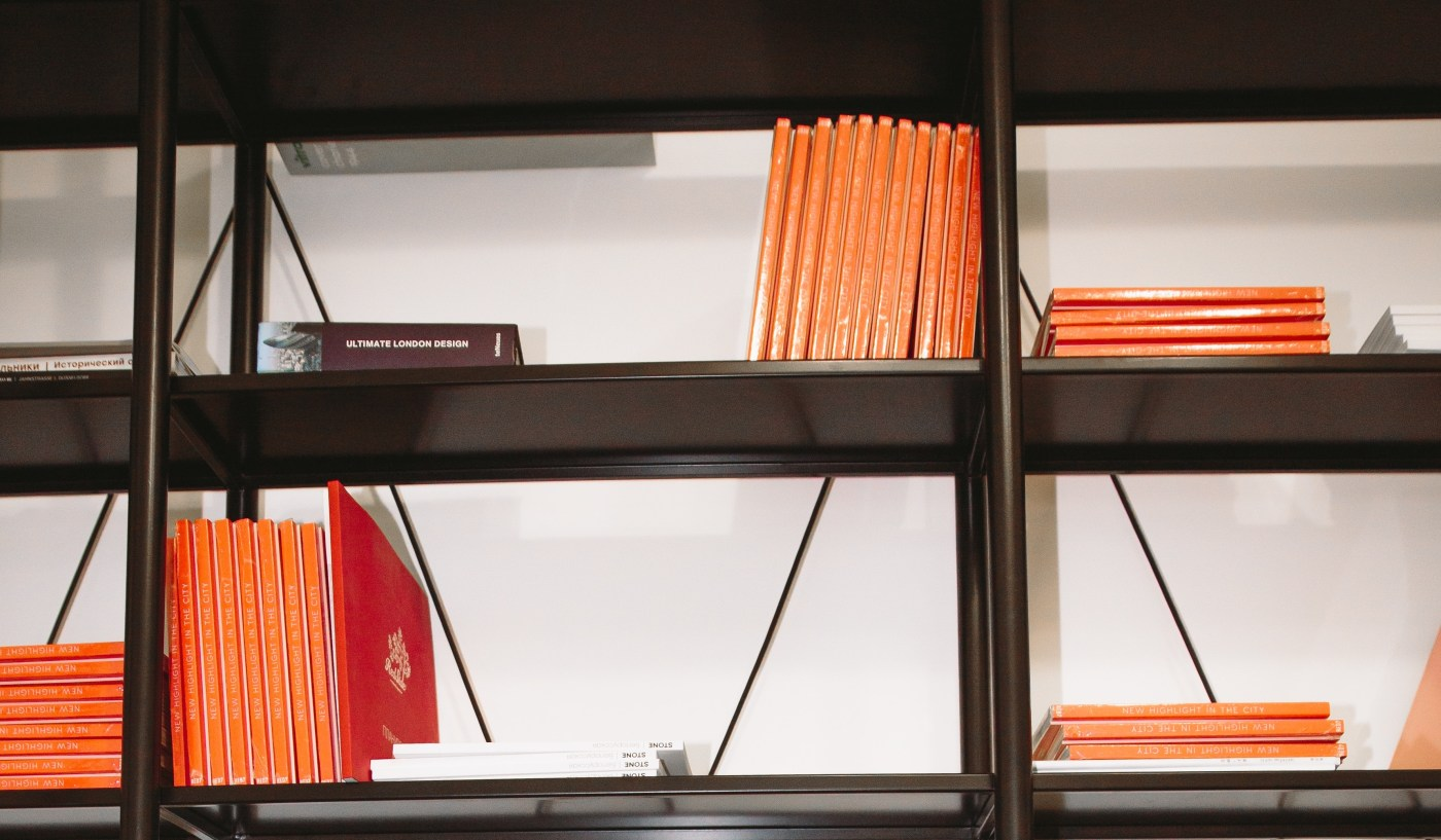 Shelving racks containing textbooks