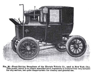 Sadly, electric taxis like this one came into use in New York City in the late 1890s, a few years after Tesla's lab fire, so my characters ride in a horse-drawn cab instead