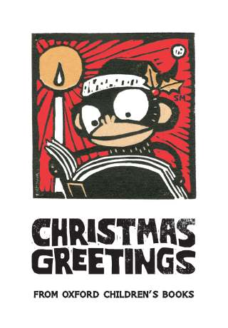 Oliver and the Seawigs Christmas greetings wood cut