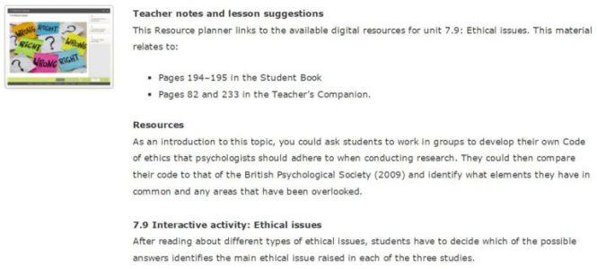 Teacher notes screen