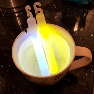 Photo of glow sticks in warm water