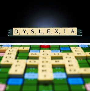 Image of scrabble titles spelling out 'dyslexia'