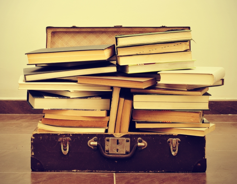 suitcase of books to be read
