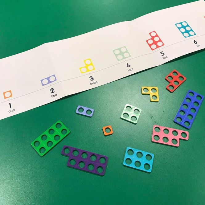 Image of Numicon shapes in a random arrangement beneath a Numicon number line